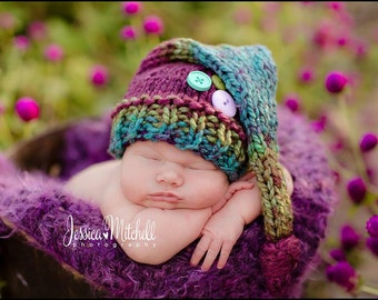 Jewel Tones - Newborn Buttons and Knots Stocking Cap Photography Prop