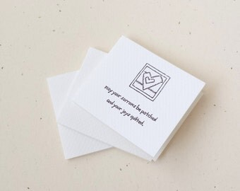 Mini NOTE CARDS / Quilt Theme / Hand Stamped on Watercolor Paper / 3 inch folded - Set of 3