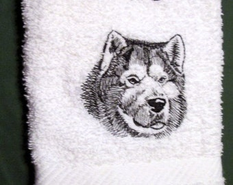 Alaskan Malamute Dog  Wipe My Paws White Bath Hand Towel Machine Embroidery