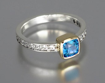 DAPHNE silver &14k gold ring with Swiss Blue Topaz