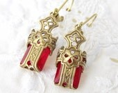 Brass Filigree Cross Earrings, Gothic Cross Earrings, Vintage Red Glass Earrings, Cross Earrings, Medieval Earrings