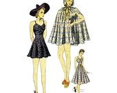 1930s Bathing Suit Simplicity 3087 Vintage Sewing Pattern Cape Beach Ensemble Pin Up Style Skirted Swimsuit Size 16 Bust 34