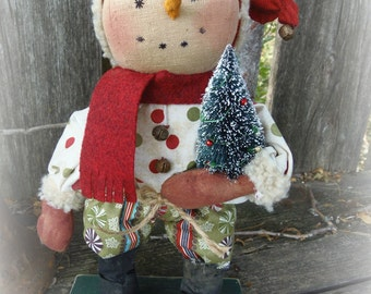 """Standing Snowman 10'"""" tall  Hand embroidered face All Hand Made  Prim"""