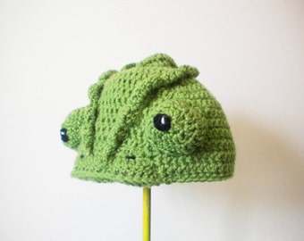 Crochet Chameleon Hat - Realistic Reptilian Crochet Beanie - Lizard Hat for baby / toddler / boy / girl / man / woman