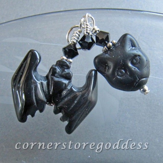 Halloween Familiar Bat Black Cat Charm Zipper Pull Pendant EHAG