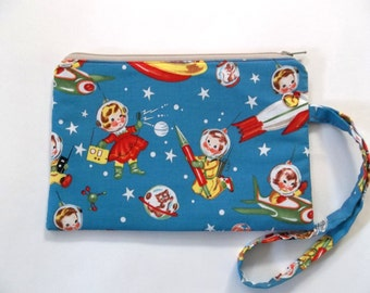 Zippered Wristlet Pouch--Retro Space Kids