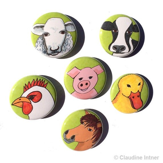 Farm Animal Magnets Or Pins Cow Pig Sheep Rooster By Claudine