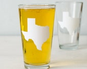 TEXAS white pint glass SCREEN PRINTED single beer glass