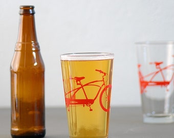 TANDEM BIKE PINT - screen printed bicycle glasses