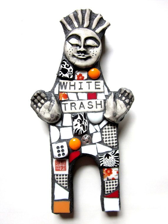 White Trash. (Mixed Media Mosaic Doll Featuring Found Objects and Recycled Elements by Shawn DuBois)