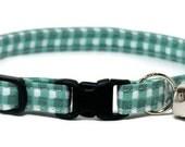 Cat Collar - Soft Green Gingham - Breakaway Safety Cute Fancy Cat Kitten Collar