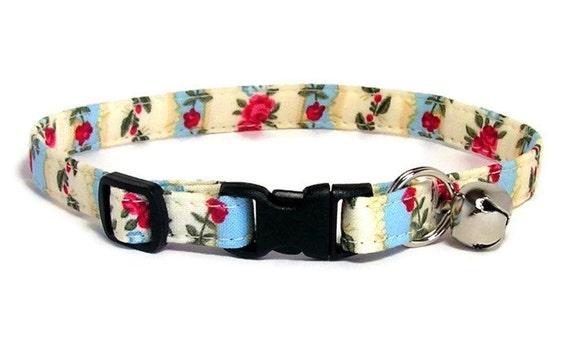 Cat Collar - English Roses - Breakaway Safety Cute Fancy Cat Kitten Collar