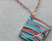 Southwestern Swirl polymer clay bold abstract pendant