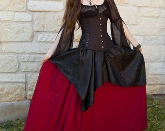 Roman Red Renaissance Skirt - Halloween Costume - Ren Faire Garb - Long Skirt - Vampire Costume - Medieval Clothing - Womens Adult Costume