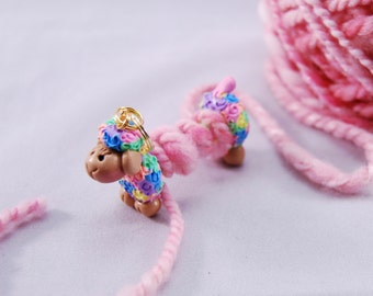 Multi Colored Sheep WPI tool gauge for handspun or any yarn