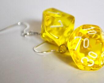 Dice Earrings - D10 Ten Sided Percentile Dice - Yellow Dangle Earrings - Geeky Jewelry
