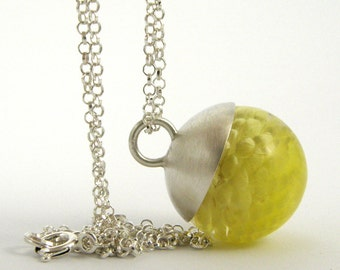 Delicate Yellow Flower Necklace, Small Resin Round with Silver Cap and Sterling Silver Chain, Romantic Jewelry
