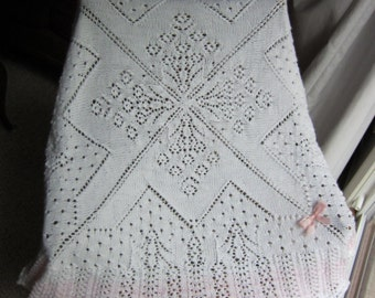 White-Pink Victorian Baby Afghan handknit, lace, original