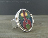 statement ring - cocktail ring - Cloisonne ring - Enamel ring - size 8 ring - red green and blue ring - sterling silver ring - unique ring
