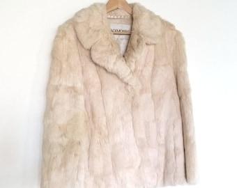1970s Cream Colored Walking Length Rabbit Fur Jacket