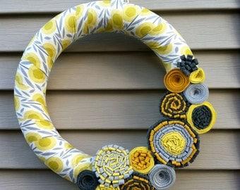 Spring Wreath - Summer Wreath - Patterned Fabric Decorated w/ Felt Flowers.  Felt Flower Wreath - Modern Wreath - Spring Felt Flower Wreath