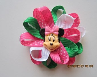 Pink and Green Minnie Mouse Inspired Hair Clip