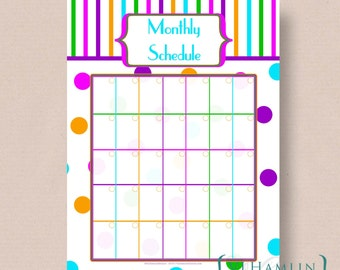Printable Monthly Calendar, Planner, Circus, Schedule Organizer, Instant Download