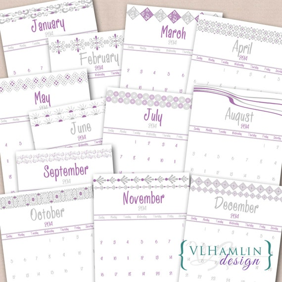 2014 Printable Calendar, Orchid and Gray Monthly Calendar