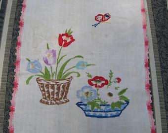 Vintage Hand-Stitched Dresser Scarf with Pink Crochet Trim