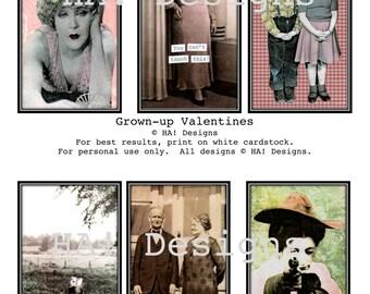 Grown-Up Valentines - 6 Original Designs - Humor - Vintage Photo Valentine - Digital File - Print Your Own - DIY