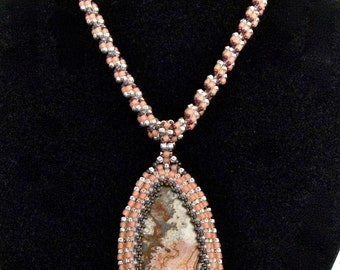 Mexican Lace Agate Reversible Pendant and Necklace