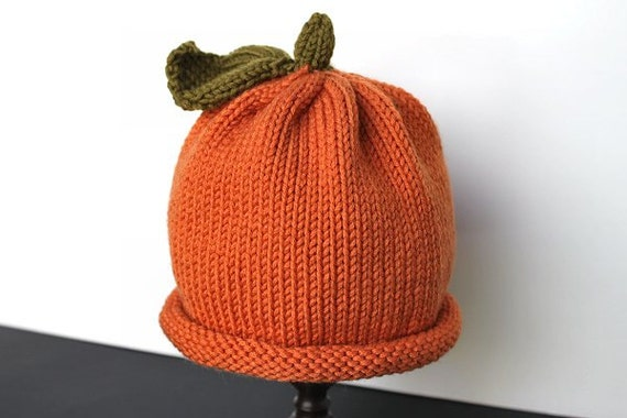 Pumpkin Hat, Knit Pumpkin Hat, Baby Pumpkin Hat, Costume Hat, Halloween Hat, Fall Autumn Hat, Baby Photo Hat, Kids Knit