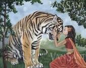 REVERENCE  Original Painting 14x11 - fantasy Indian tiger portrait sal trees landscape original art by Susan Van Sant