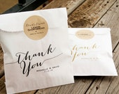 Wedding Favors - Calligraphy Thank You Bags - Candy Buffet Wedding Favor Bag  - Wax Lined Favor Bag - 25 White Favor Bags included