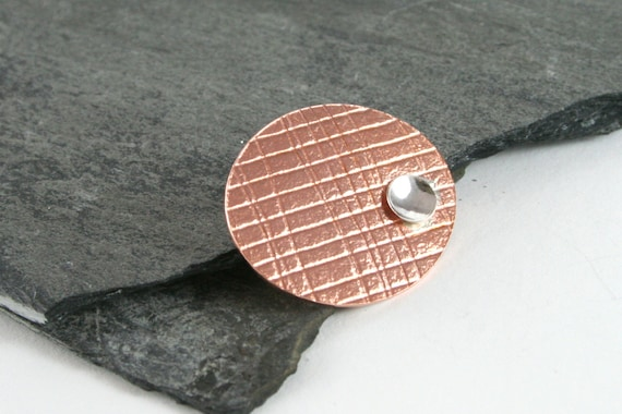 Mesh Embossed Copper & Sterling Silver Pod Brooch Pin