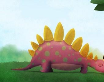 """Dinosaur Art, Girls Room Art, Kids Art, Wall Decor - """"Can I Keep Him?"""""""