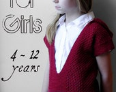 Mae For Girls - Hooded Pullover Sweater - PDF Knitting Pattern For Children - Size 4, 6, 8, 10, 12 Years Old - Instant Download