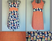 Madison Apron - Retro Kitchen Jugs  -  Reversible Hostess Apron