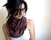 Raisin Linen Infinity Scarf / Circle Scarf / Continuous Loop / Gift / Thimble and Acorn