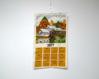 vintage 1977 WATERMILL linen calendar