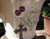 Rearview Mirror Jewelry Charm Car Feng Shui Christian Cross Purple