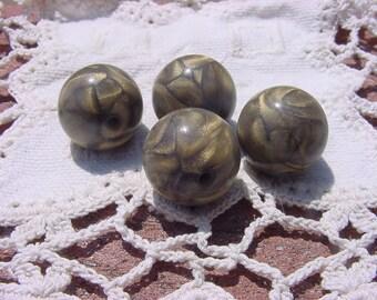 Ancient Gold Swirls Vintage Lucite Beads