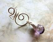 Amethyst Ear Cuff, Amethyst Earcuff, Gemstone Ear Cuff, Gemstone Earcuff, Amethyst Cuff Earring, Wire Ear Cuff, Fake Piercing Ear Cuff