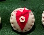 Set of 6 Hand Embroidered Folk Art Inspired Primitive Hearts Felt Ornaments Valentines