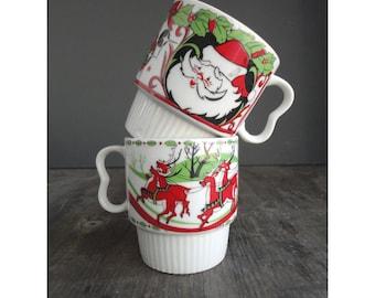 2 Mid Century Christmas Mugs - Set of 2