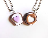 Polymer Clay Peanut Butter and Jelly Cutout Hearts Best Friends Necklace Set