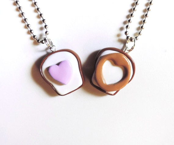 Polymer Clay Peanut Butter and Jelly Cutout Hearts Best Friends ...