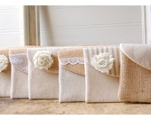 burlap lace wedding, clutch purse, bridesmaid clutch, rustic wedding, shabby chic, choose flower color Personalize, Bridesmaid gift set of 5