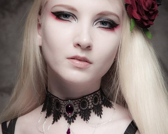 Steampunk gothic lace choker purple necklace crystal drop and elegant draped chains - SINISTRA - FEATURED in Devolution magazine