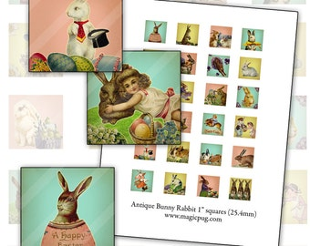 Antique Bunny Rabbit Pastel 1 inch square  digital collage sheet 25mm 25.4mm 1x1 1in